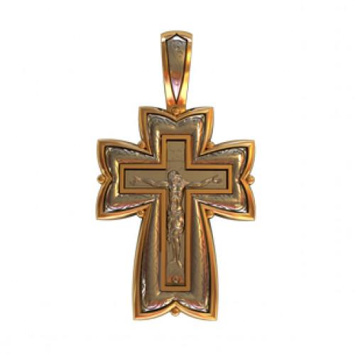 Золотой крест без камней с распятием 410200