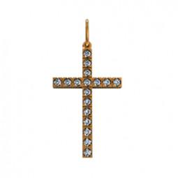 Небольшой золотой крест с камнями 410220