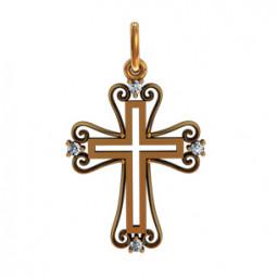 Золотой декоративный крест с маленькими камнями 410320
