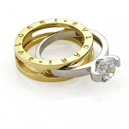Золотое женское кольцо в стиле Bvlgari b.Zero Double Ring 052