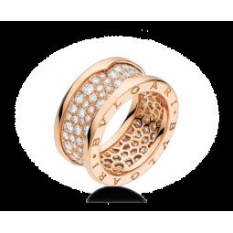 Женское многокаменное золотое кольцо в стиле Bvlgari b.Zero Women's Ring 047