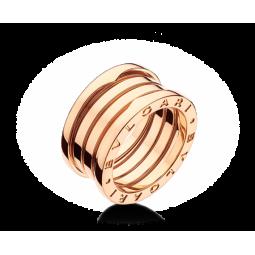 Золотое кольцо унисекс в стиле Bvlgari B-Zero Red Gold Ring 045