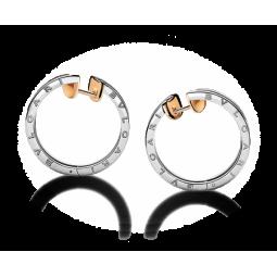 Золотые женские круглые серьги в стиле Bvlgari b.Zero 114