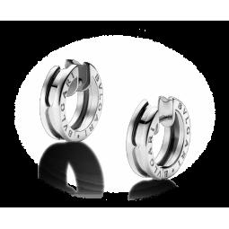Женские золотые серьги без камней в стиле Bvlgari b.Zero white 108