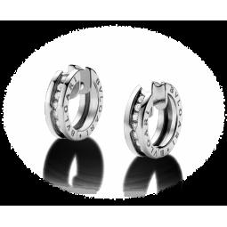 Золотые женские серьги с дорожкой камней в стиле Bvlgari b.Zero white 115