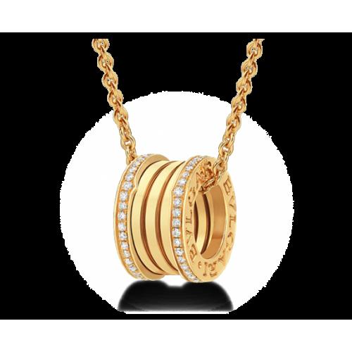 Золотой подвес с камнями рекплика Bvlgari b.Zero 160044