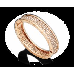 Золотой браслет с россыпью камней реплика Bvlgari b.Zero red Stone 303