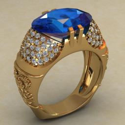Массивное женское золотое кольцо с узорами и фианитами КН-43667