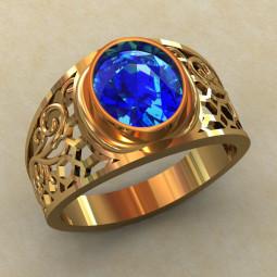 Золотое ажурное кольцо с крупным овальным фианитом КМ-811
