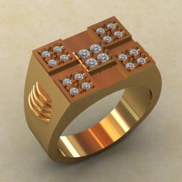 Золотая печатка с мелкими фианитами на площадке КМ-834