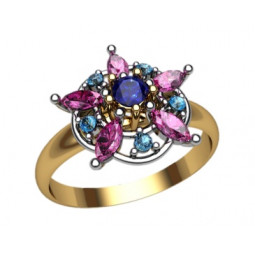 Женское золотое кольцо в форме звезды из камней 1187