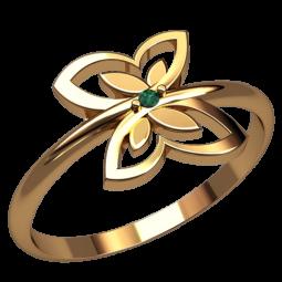 Маленькое недорогое золотое кольцо бабочка 2565