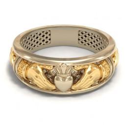 Дизайнерское кладдахское кольцо из комбинированного золота 180063