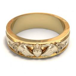 Дизайнерское кладдахское кольцо с накладкой из белого золота 320019