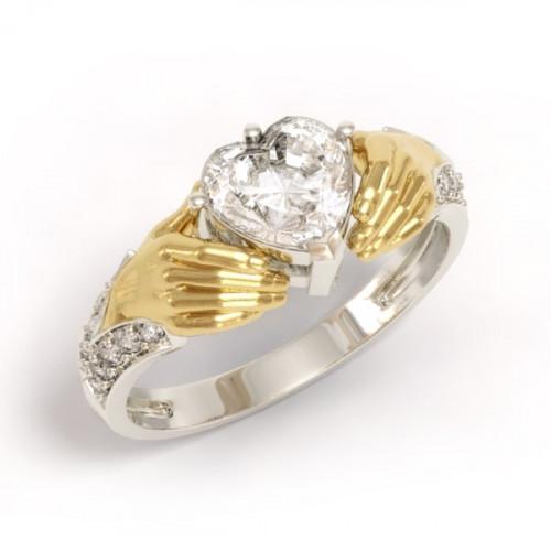 Женское золотое кладдахское кольцо из комбинированного золота 530067