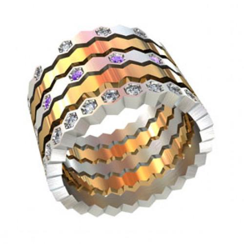 Женское широкое золотое кольцо 000150