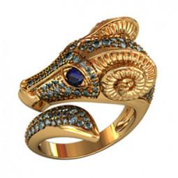 Необычное золотое кольцо 000180