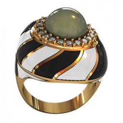 Женское золотое кольцо с эмалью 001590