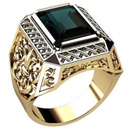 Золотая мужская печатка с узорами и крупным камнем 3043