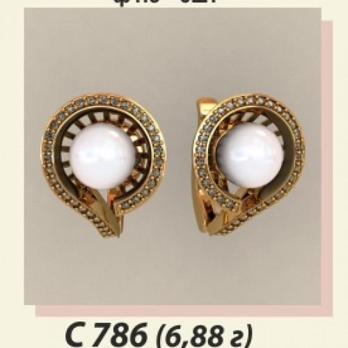 Женские золотые серьги с жемчугом С-786