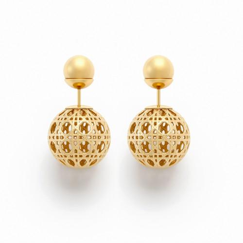 Ажурные золотые серьги-пусеты в стиле Mise en Dior Tribale 094