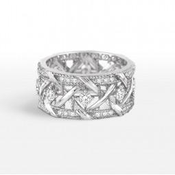 Авторское золотое кольцо в стиле My Dior White Ring Extra Gems 117