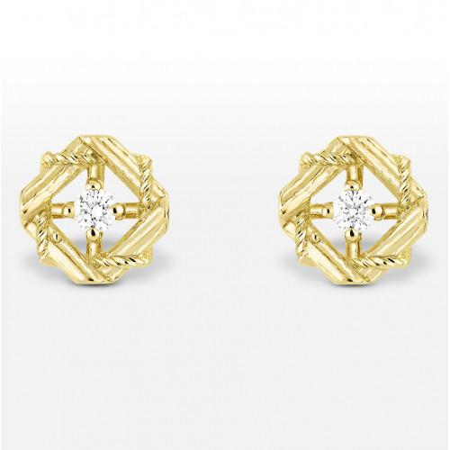 Женские золотые серьги гвоздики в стиле My Dior Earrings White 100