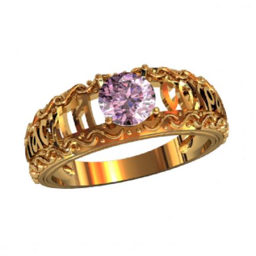 Охранное золотое кольцо с круглым камнем 21118330