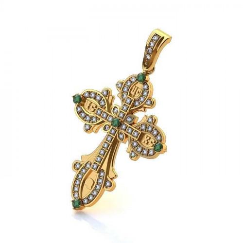 Эксклюзивный золотой крест с дорожками камней 034
