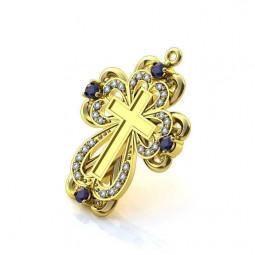 Авторский золотой декоративный крест с камнями 035