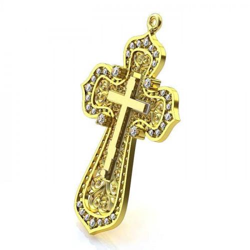 Авторский золотой ажурный крест 036