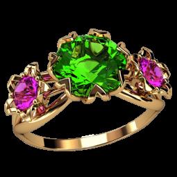 Женское кольцо с тремя большими круглыми фианитами 2576