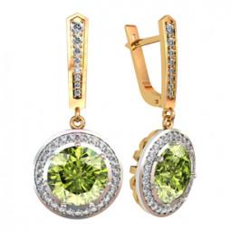 Золотые серьги с крупными зелеными фианитами 110705
