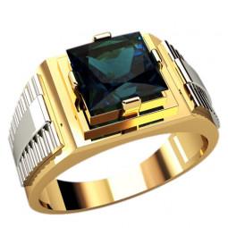 Золотая двухцветная печатка с крупным камнем 3105
