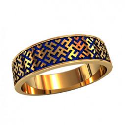 Мужское кольцо с синей ювелирной эмалью и геометрическим рисунком 750220
