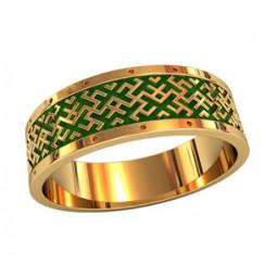 Мужское кольцо с зеленой эмалью и геометрическим рисунком 750200
