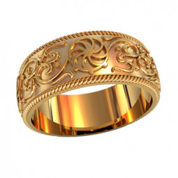 Широкое золотое кольцо с необычным узором 750180