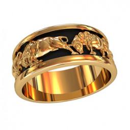 Золотое кольцо с черной эмалью и изображением быков 750160