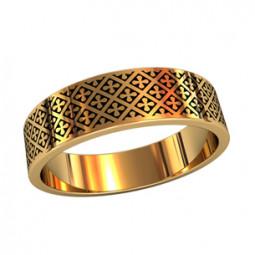 Золотое кольцо с мелким рисунком и ювелирной эмалью 750140
