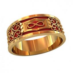Мужское золотое кольцо с узорами и красной ювелирной эмалью 750120