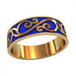 Мужское кольцо с ювелирной эмалью и узором 750100