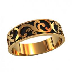 Мужское золотое кольцо с черной эмалью и узором 750080