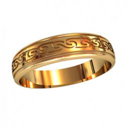 Мужское золотое кольцо с орнаментом 750060
