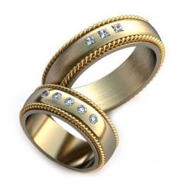 Авторские обручальные кольца из белого золота с камнями разной огранки AU3431032