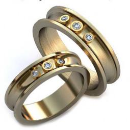 Авторские обручальные кольца с белыми камнями из белого золота AU917034