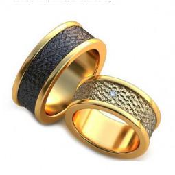 Авторские обручальные кольца с неровной поверхностью и черным родием AU377066