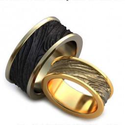 Авторские массивные обручальные кольца из белого и красного золота AU054072