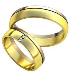 Полукруглые обручальные кольца из комбинированного золота AU487187