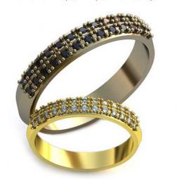 Обручальные кольца с маленькими камнями из белого и желтого золота AU59216