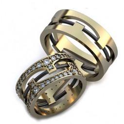 Авторские обручальные кольца из белого золота с камнями AU850223